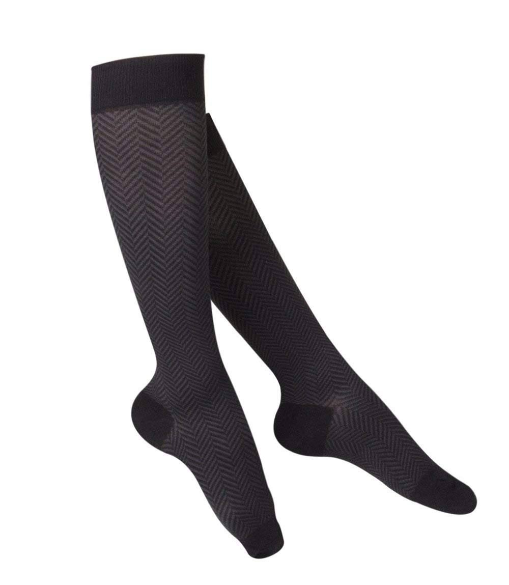Touch Ladies' Knee High Compression Sock - Black, Herringbone Pattern, 20-30mmhg