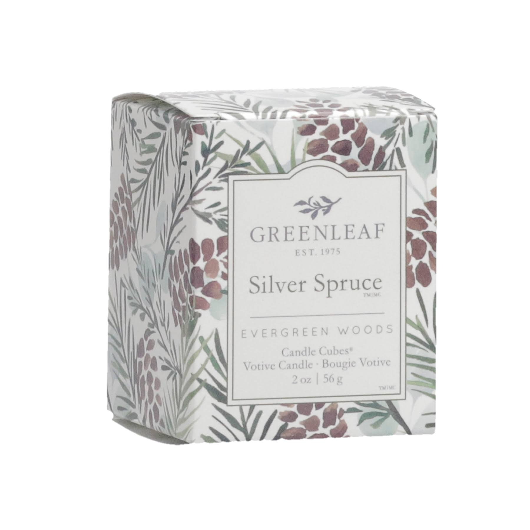 Greenleaf Gifts Silver Spruce Candle Cube Votive