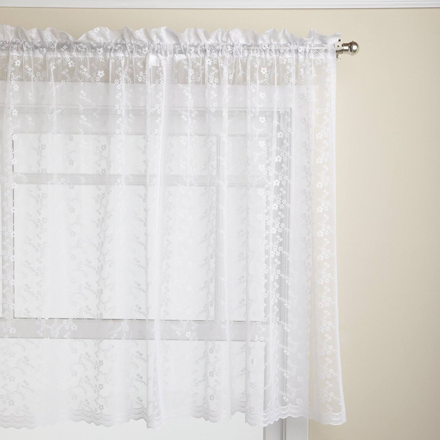 "Priscilla Lace Curtain, 60""W x 36""L Tier Pair White"