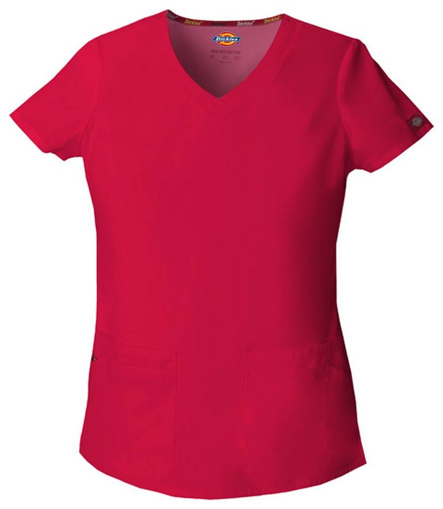 Dickies Women's EDS Signature V-neck Solid Scrub Top - Red, 2XLarge