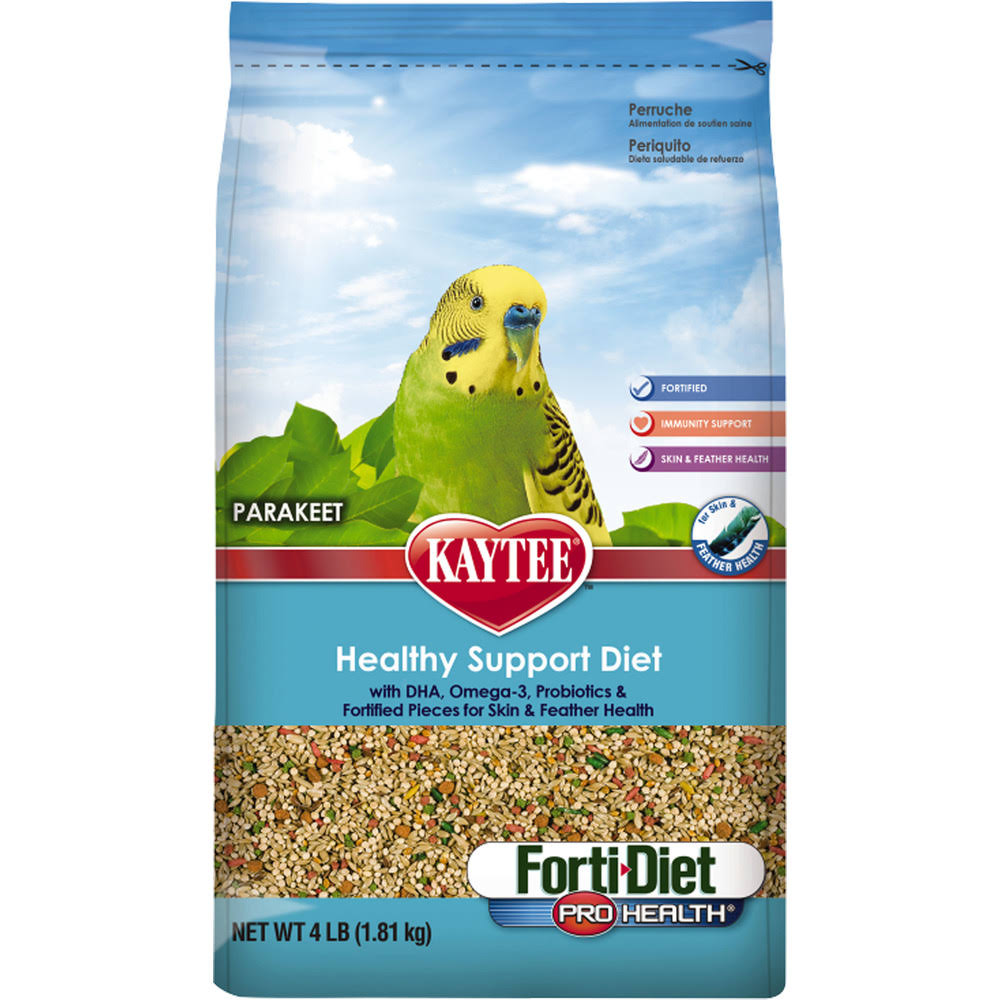 Kaytee Forti Diet Pro Health Bird Food - for Parakeets, 4lbs