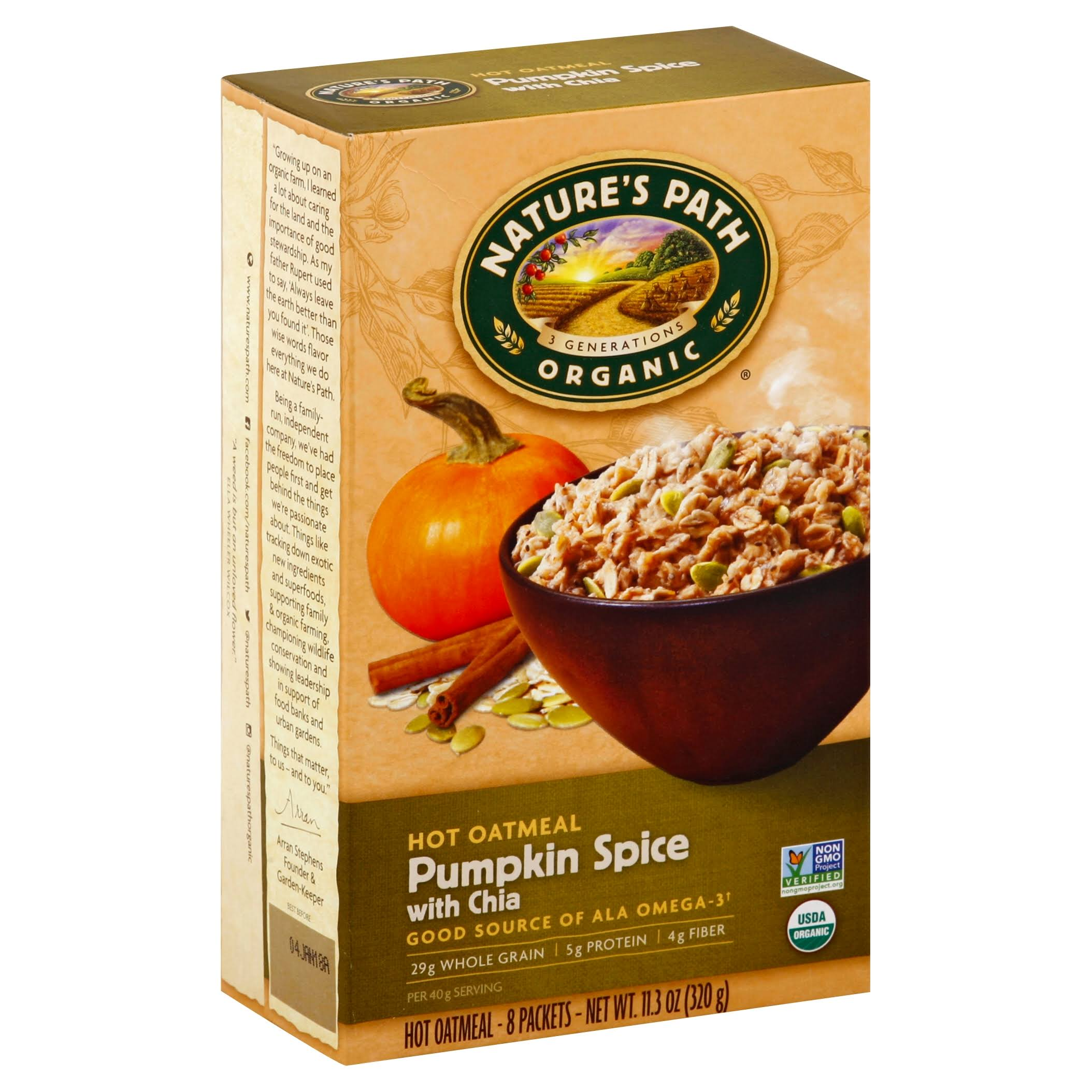 Natures Path Organic Oatmeal, Hot, Pumpkin Spice with Chia - 8 packets, 11.3 oz