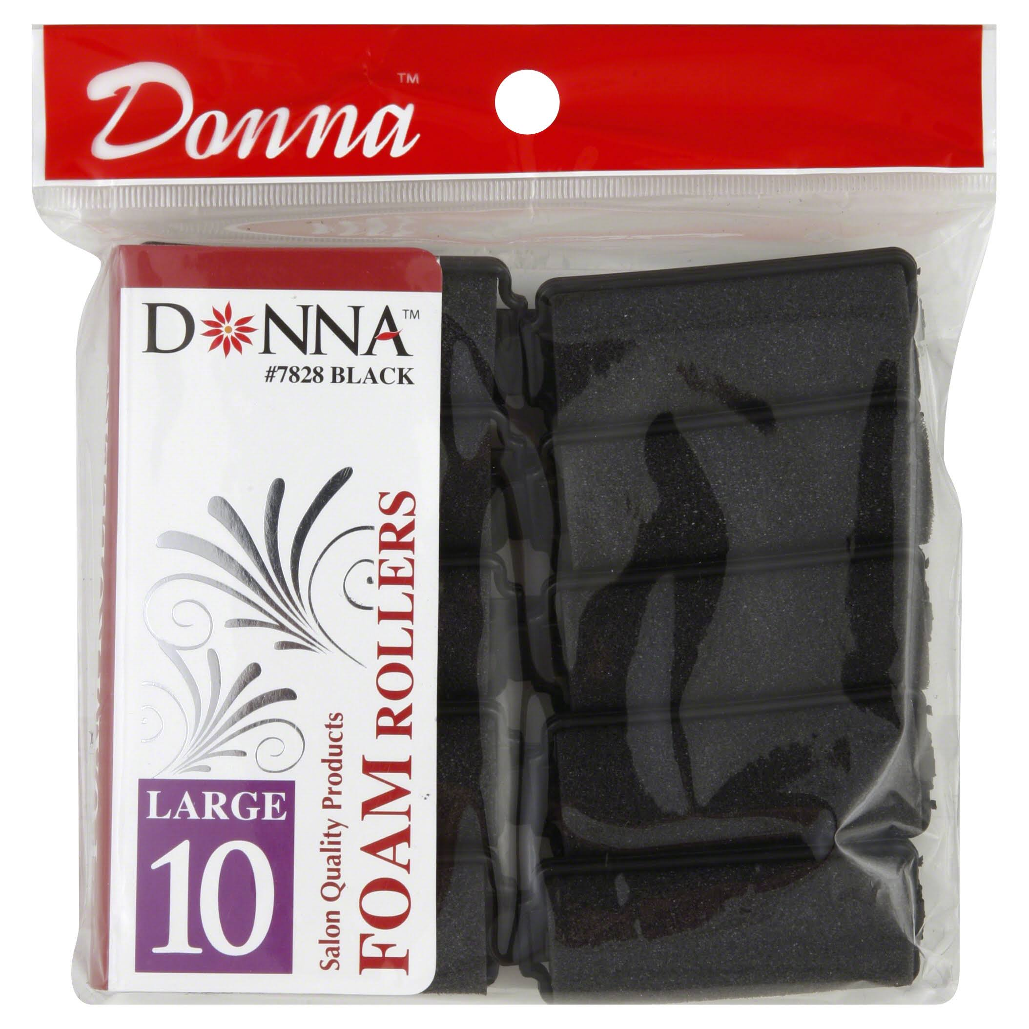 Donna Foam Rollers, Large, Black - 10 rollers