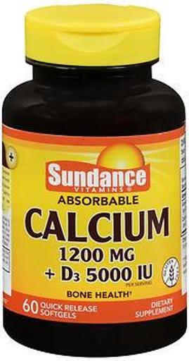 Sundance Calcium 1200 MG Plus Vitamin D3 5000 IU Tablets - 60ct