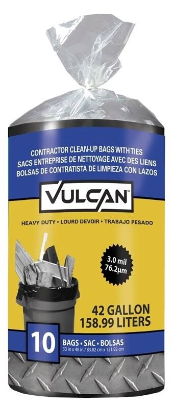Vulcan 20039-6 Contractor Bag, 42 Gal Capacity, Poly, Black