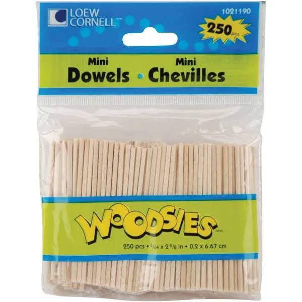 Loew-Cornell Woodsies Mini Dowels - 250 ct