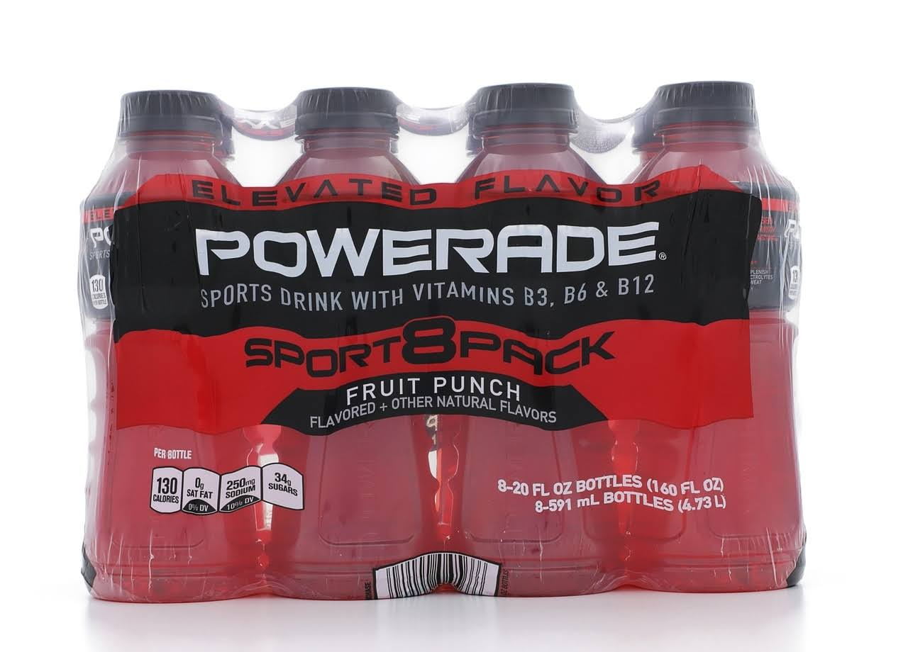 Powerade Fruit Punch Sports Drink - 20oz, 8 Count