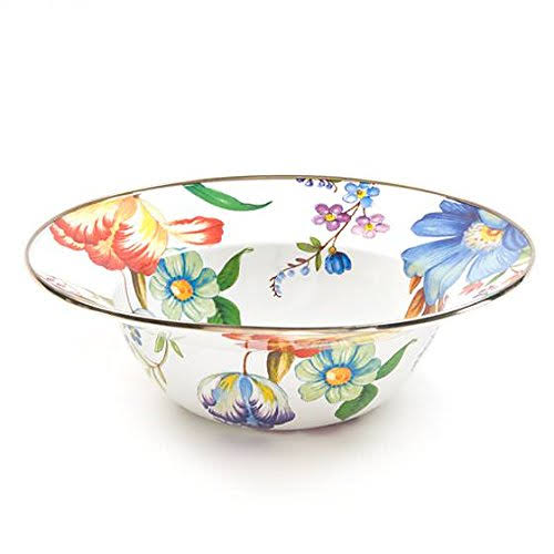 MacKenzie-Childs - Flower Market Enamel Serving Bowl - White