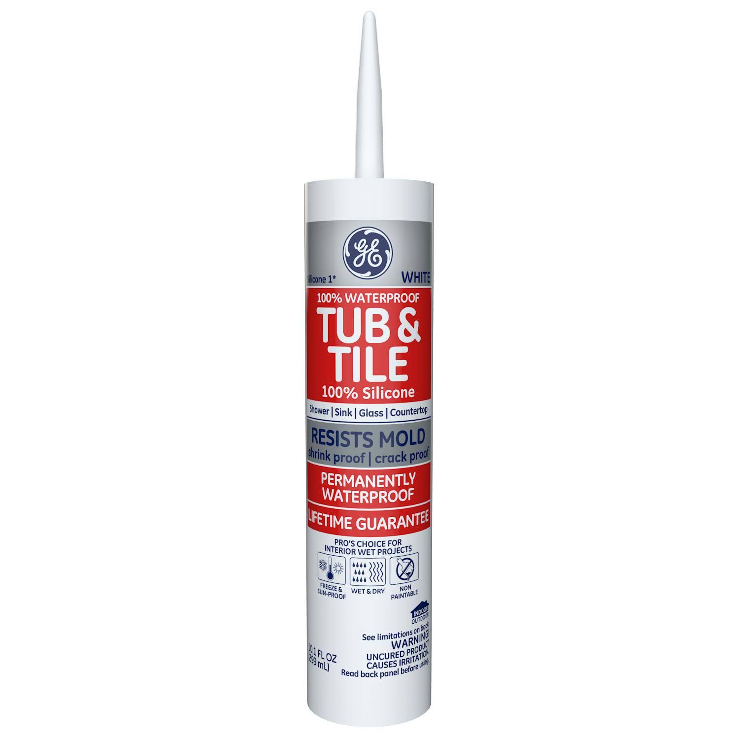 GE Tub & Tile Silicone Kitchen & Bath Caulk - White, 10.1 oz