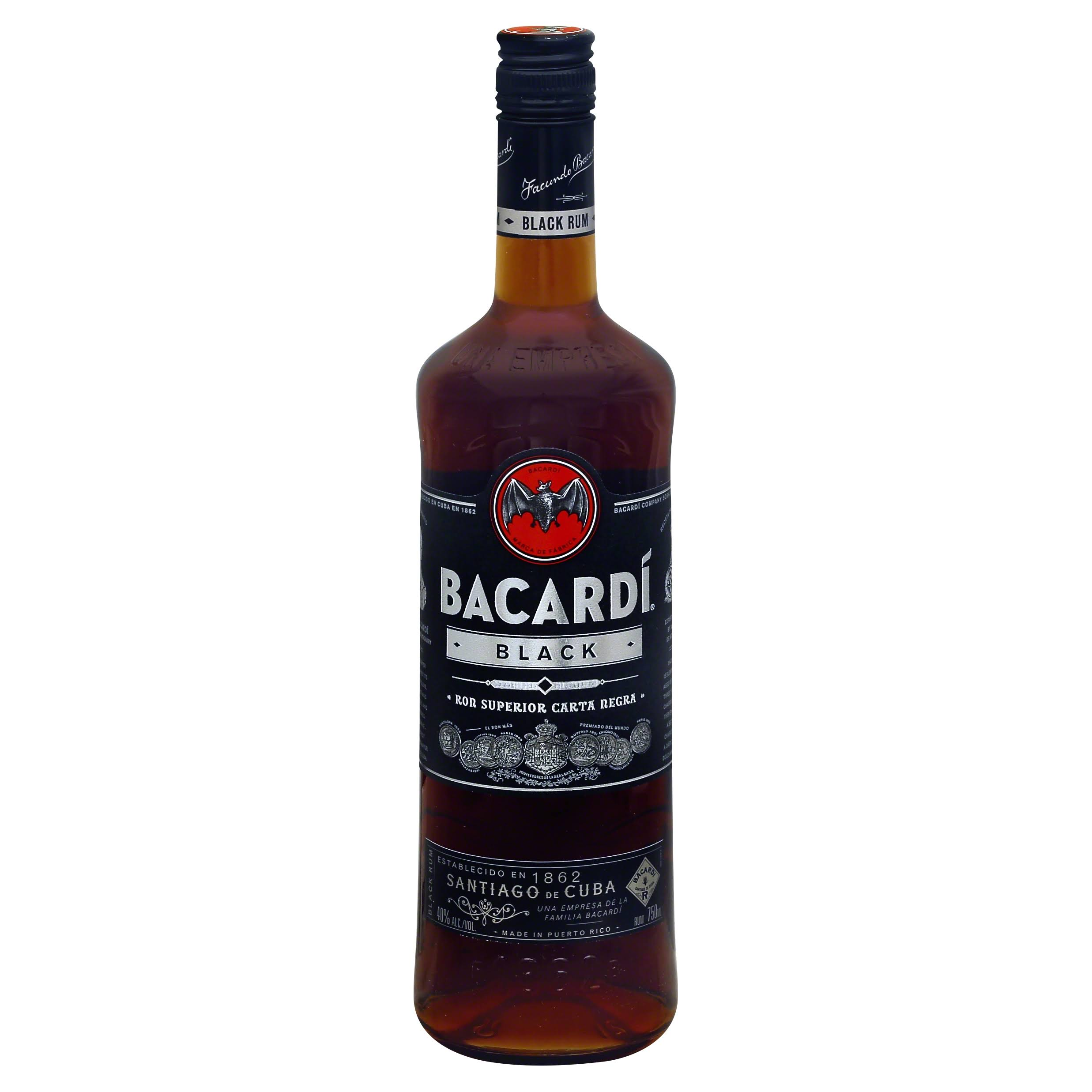 Bacardi Rum, Black - 750 ml