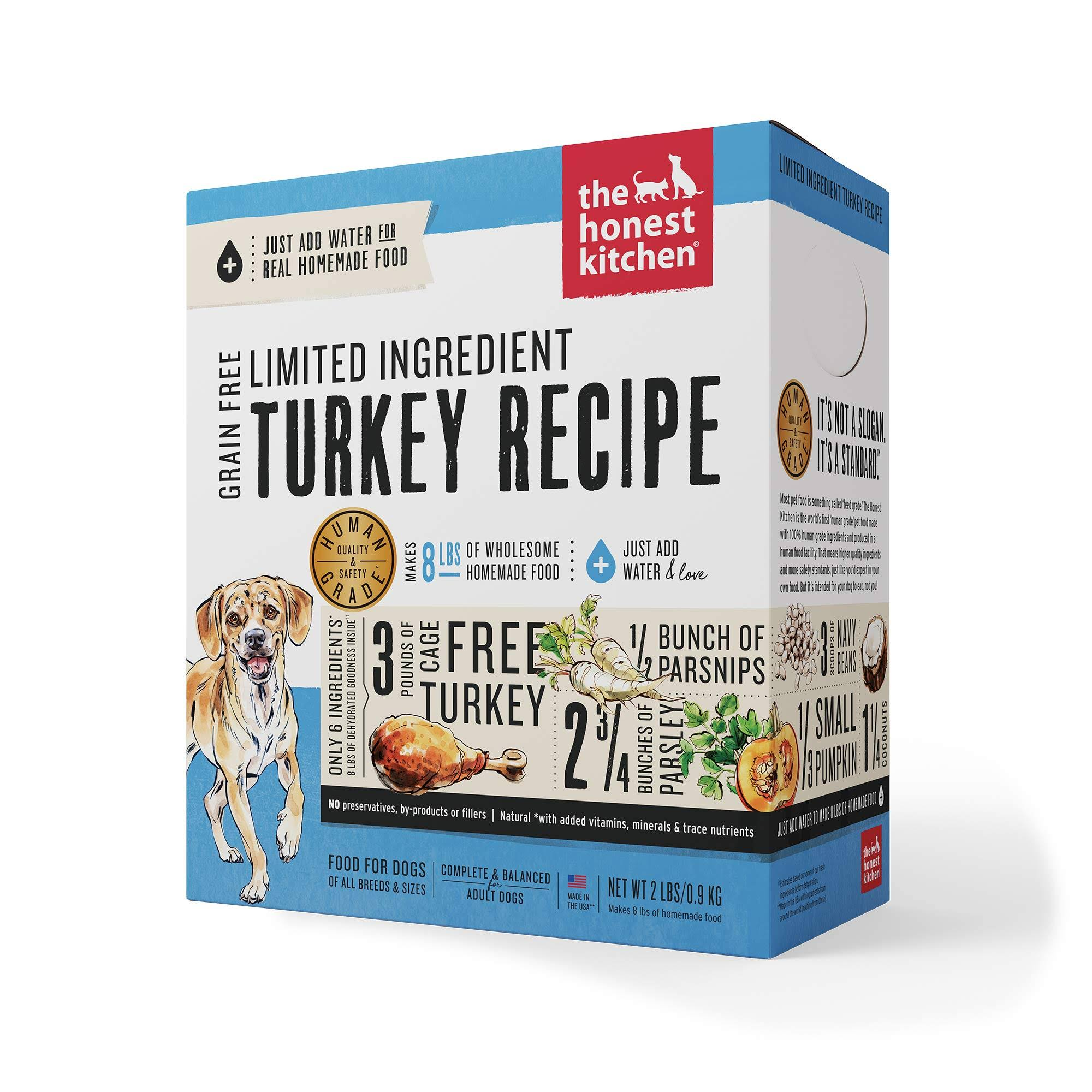 The Honest Kitchen Grain Free Limited Ingredient Turkey Recipe Dehydrated Dog Food, 2lb