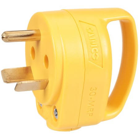 Camco 55283 Mini Replacement Male Plug - with PowerGrip Handle, 30 Amp