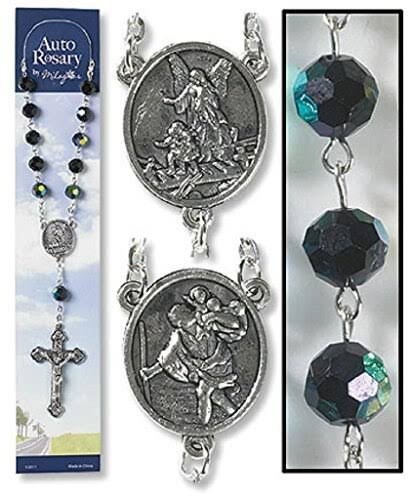 Catholic Church Saint Guardian Angel Black Auto Rosary for Cars Trucks
