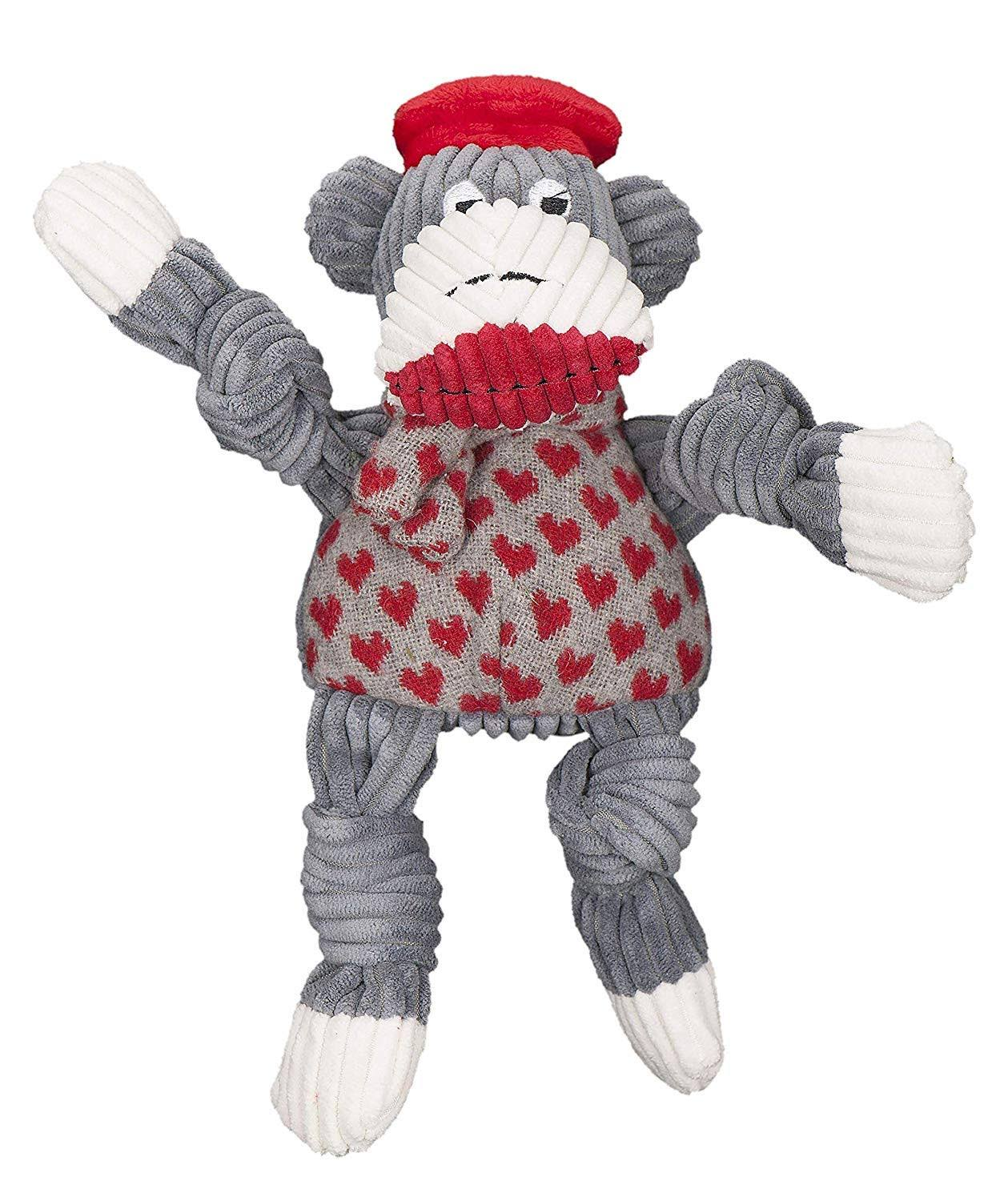 Hugglehounds Sock Monkey Knotties Jean Claude Plush Dog Toy, Small