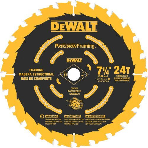"DeWalt DW3599B10 Ultra Thin Kerf Framing Blade - 7-1/4"", 24 Tooth"