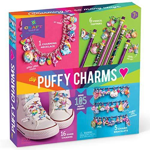 Craft-tastic – DIY Puffy Charms – Craft Kit Makes A Necklace, 5 Bracelets, 6 Pencil Toppers, and 16 Shoe Charms