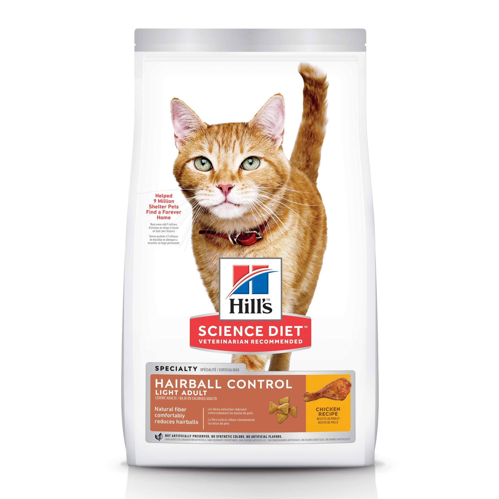 Hill's Science Diet Hairball Control Adult Dry Cat Food - Light, Chicken Recipe, 7lbs