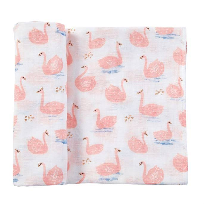 Mud Pie Muslin Swan Swaddle Blanket