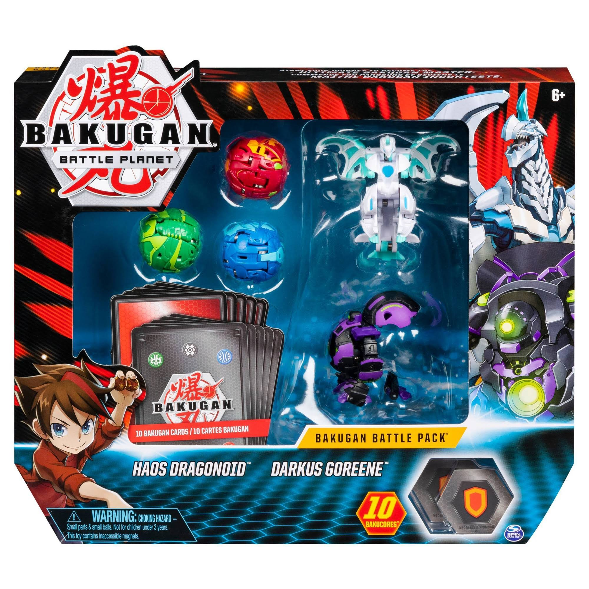 Bakugan Battle Pack 5-Pack Haos Dragonoid and Darkus Goreene Collectible Cards and Figures