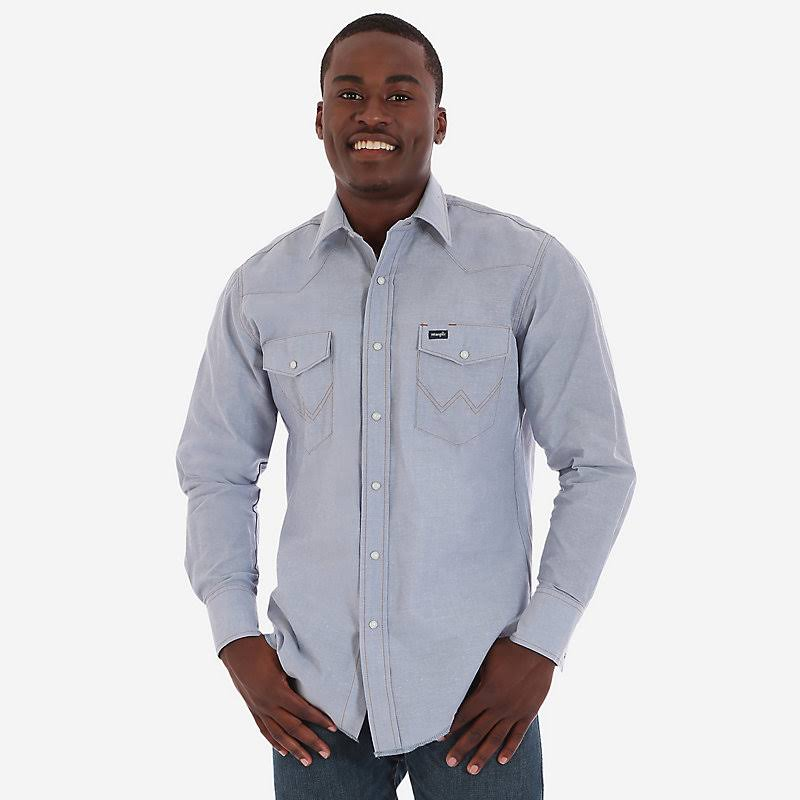 Wrangler Men's Long Sleeve Chambray Western Work Shirt - 17.5X36