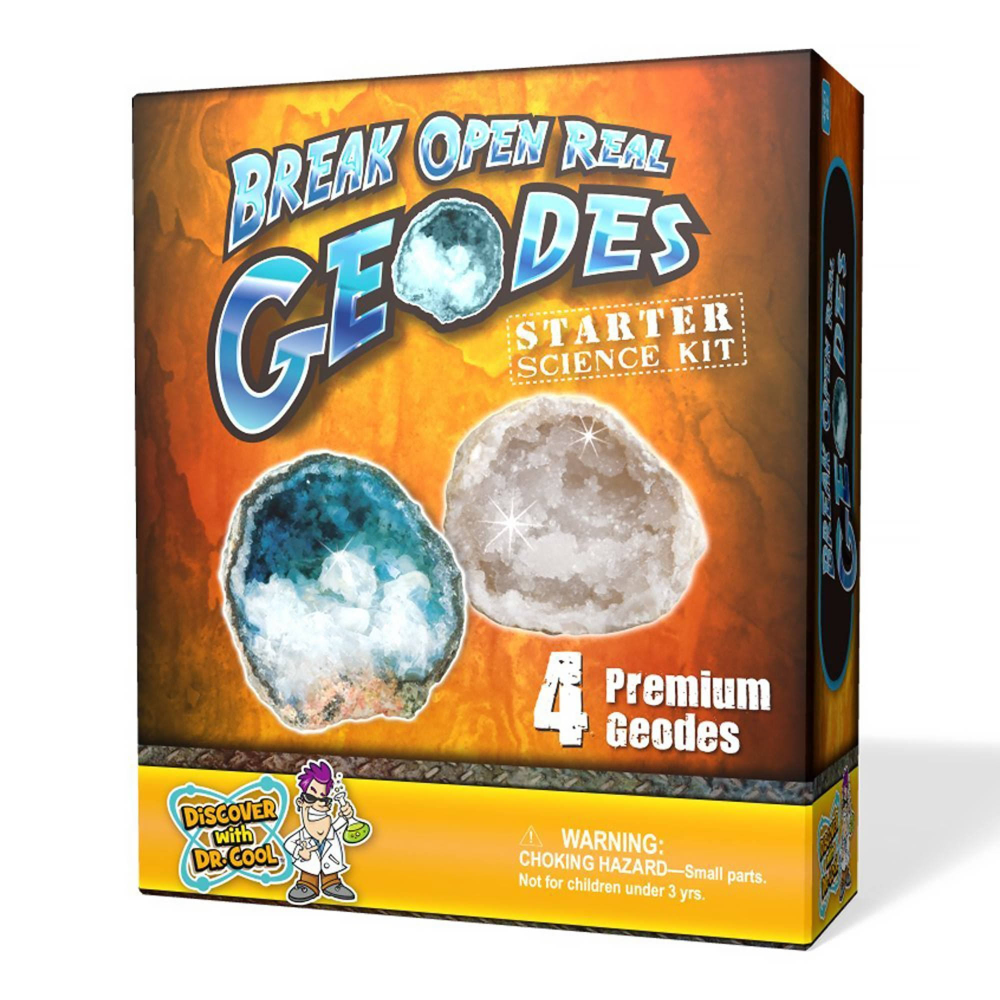 Discover with Dr. Cool Crack Open 4-Piece Real Geodes Starter Rock Science Kit