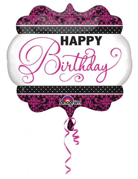 Happy Birthday Foil Balloon - Supershape, Pink/White/Black, 25""