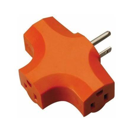 Coleman Cable 09906 3 Outlet Power Adapter - Orange