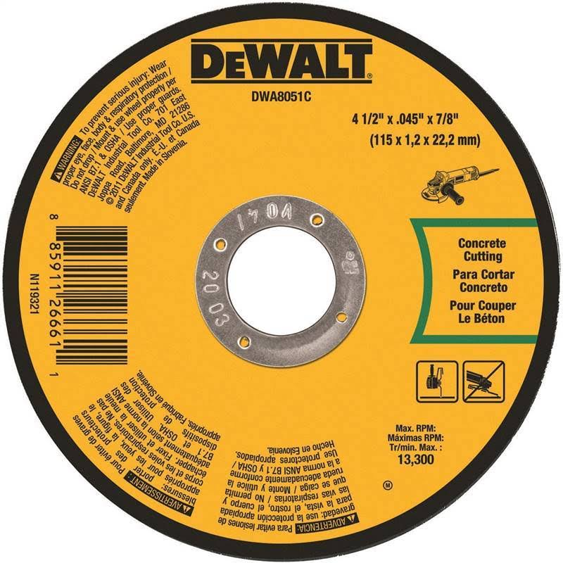 DeWalt DWA8051C Masonry Cut-Off Wheel - 4-1/2in x 0.045in x 7/8in