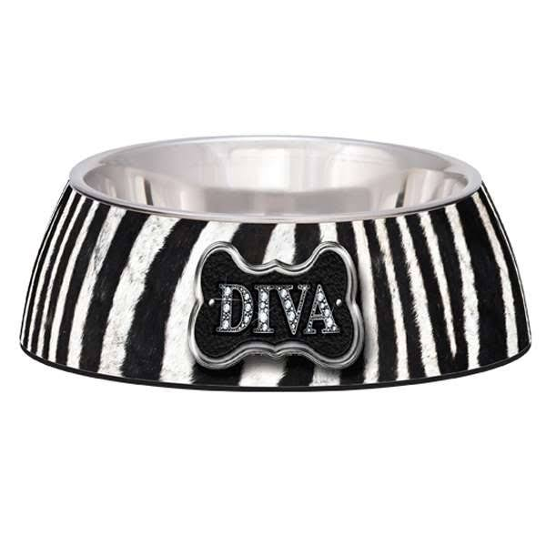 Milano Loving Pets Diva Zebra Dog Bowl - Medium