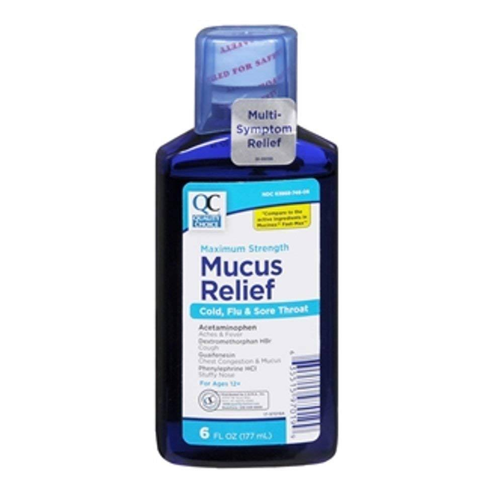 Quality Choice Mucus Relief Cold Flu & Sore Throat 6 Ounce Each