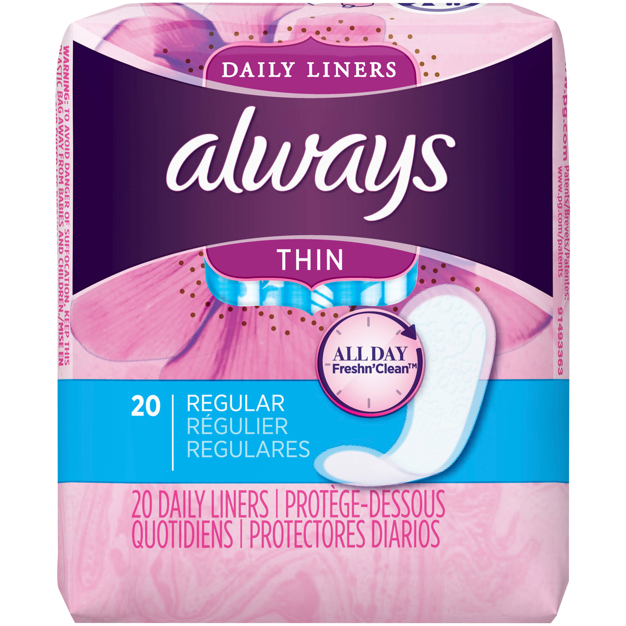 Always Incredibly Thin Daily Liners - Regular, 20ct