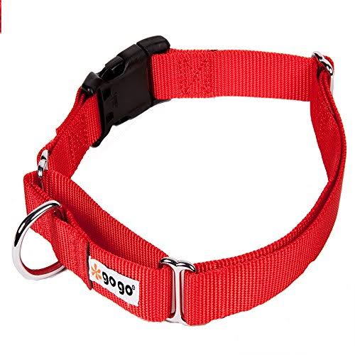 Gogo Pet Products Martingale 1 Wide Fits A Dog with 16 -21 Girth Gentle Training Collar Medium Large Red