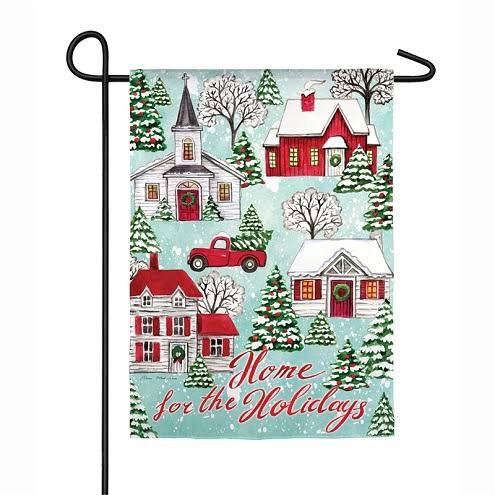 Evergreen Home for The Holidays Suede Garden Flag