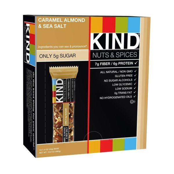 Kind Nuts and Spices Bar - Caramel Almond and Sea Salt, 40g