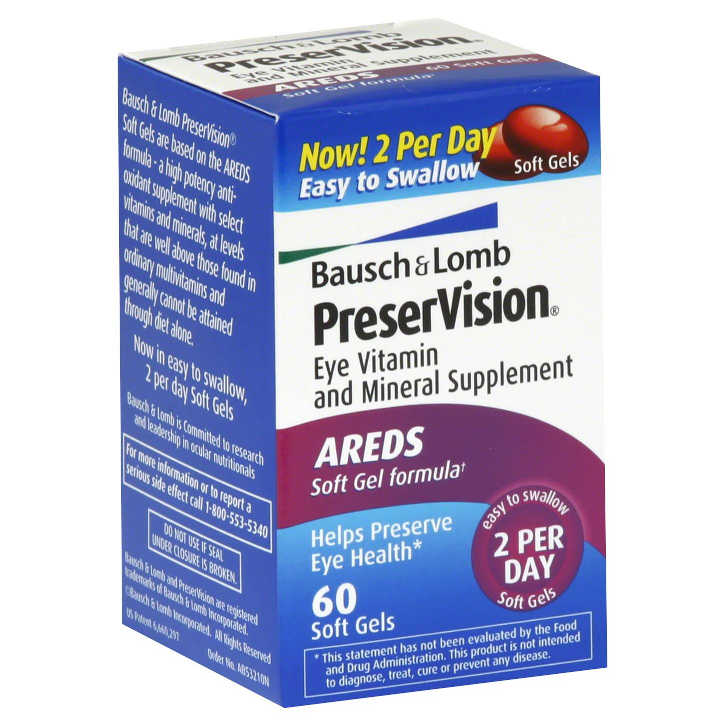 Bausch + Lomb PreserVision Eye Vitamin & Mineral Supplement - x60
