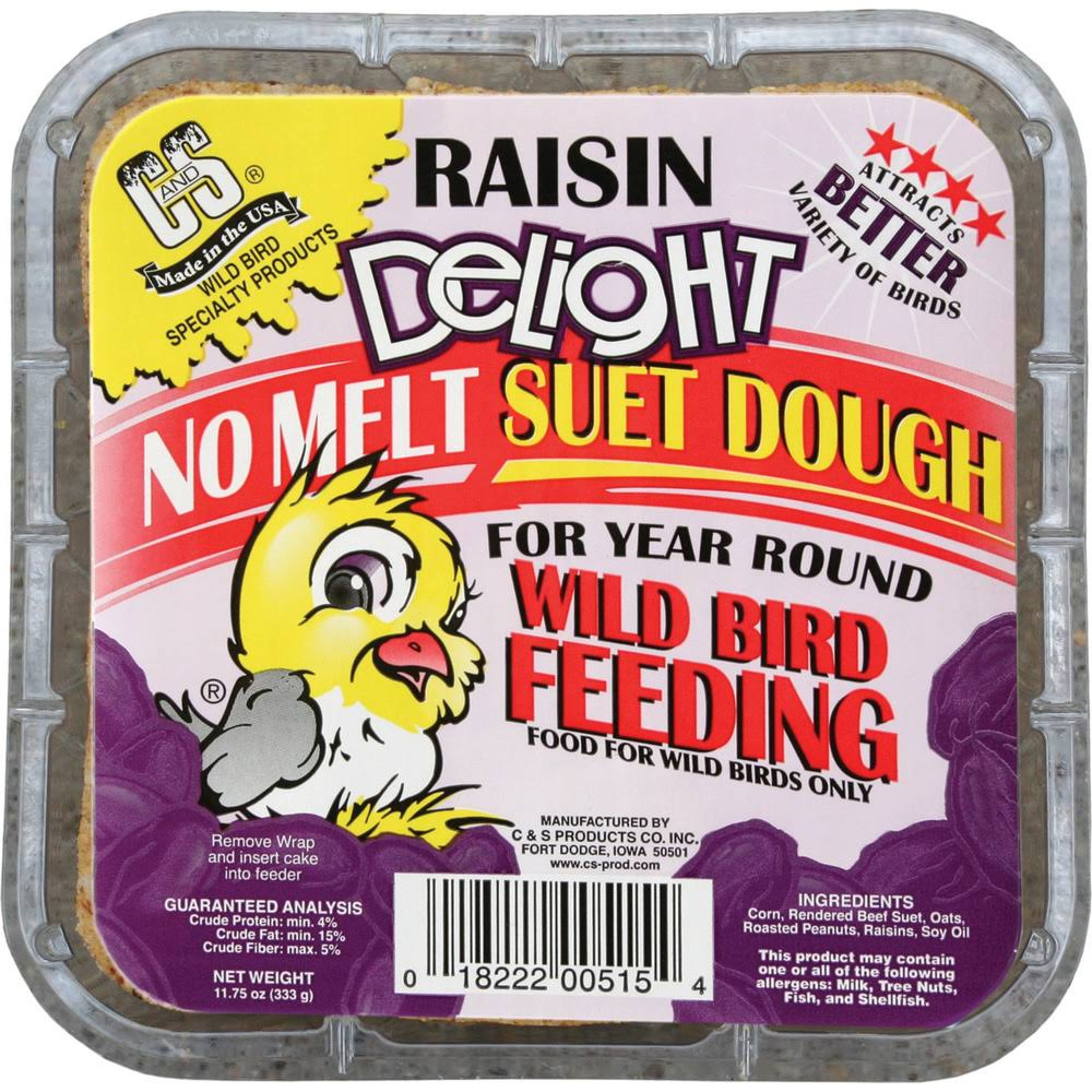 C&S 12515 Raisin Delight Suet Bird Food - 11.75oz
