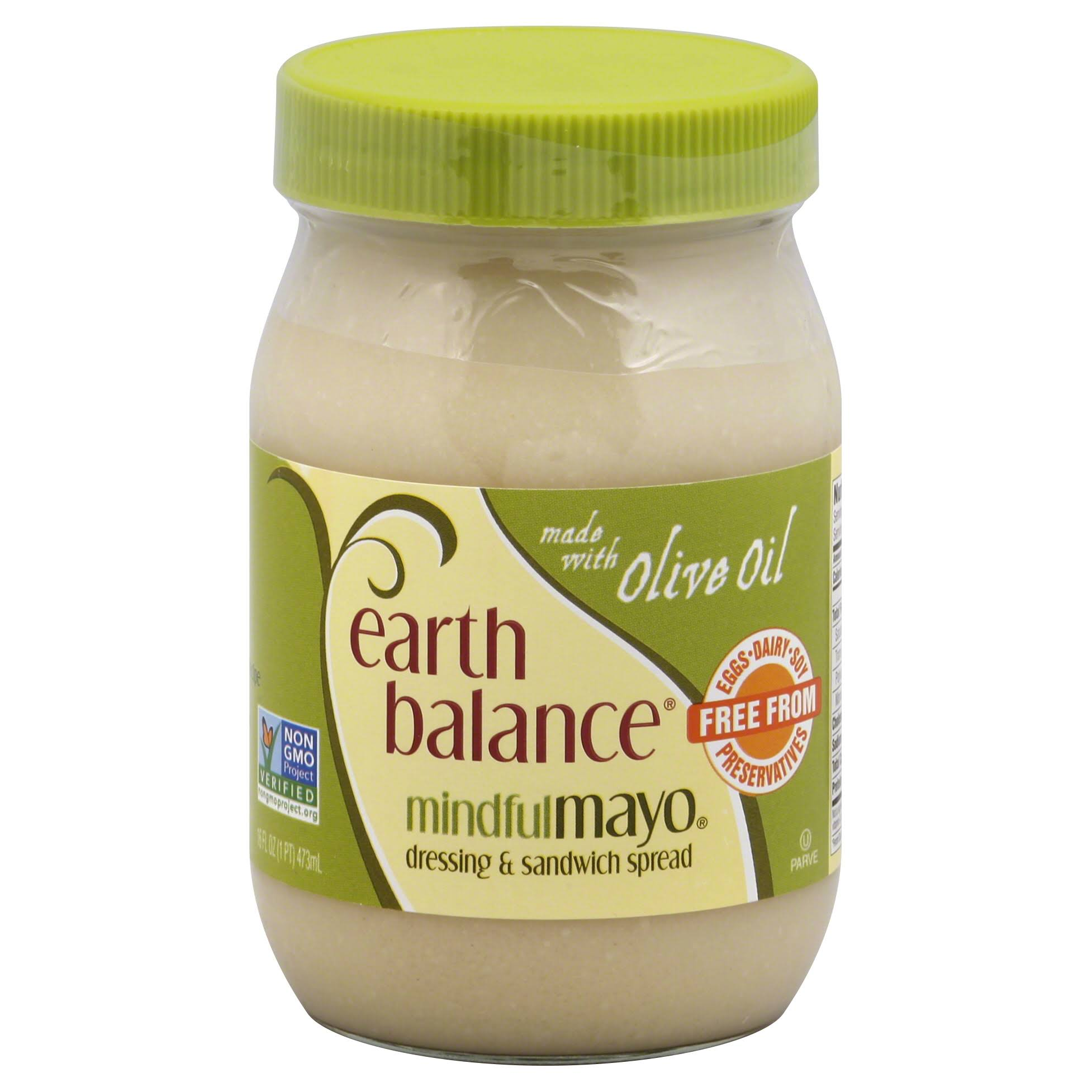 Earth Balance Mindful Mayo Dressing & Sandwich Spread, Made with Olive Oil - 16 fl oz