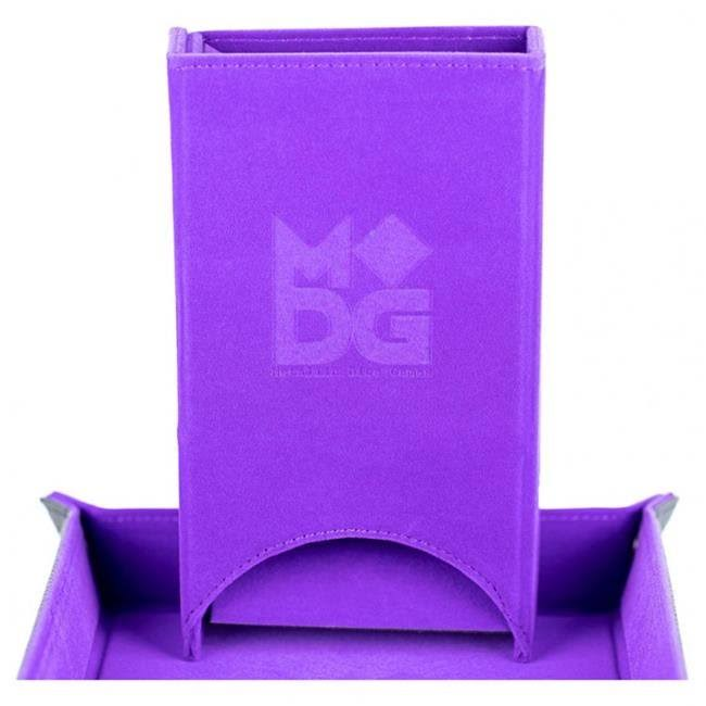 Metallic Dice Games Fold Up Velvet Dice Tower - Purple