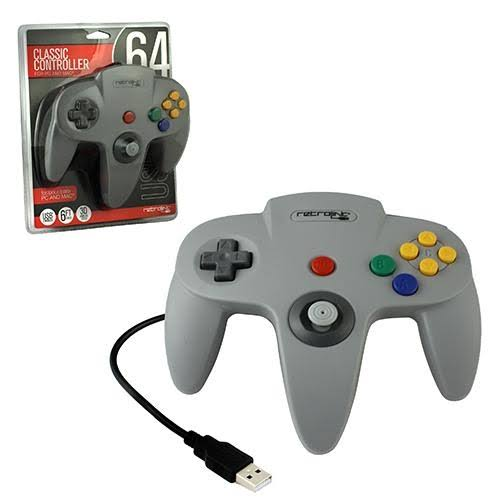 RetroLink Wired Nintendo 64 Style USB Controller for PC and Mac - Gray
