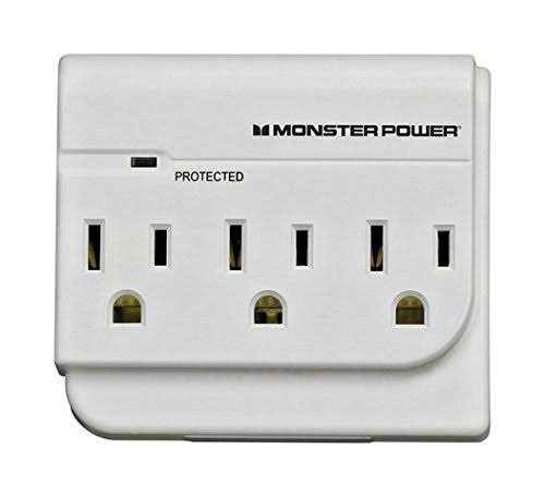 Monster Power Surge Protection Outlet Wall Tap - 15A, 120V, Satin White