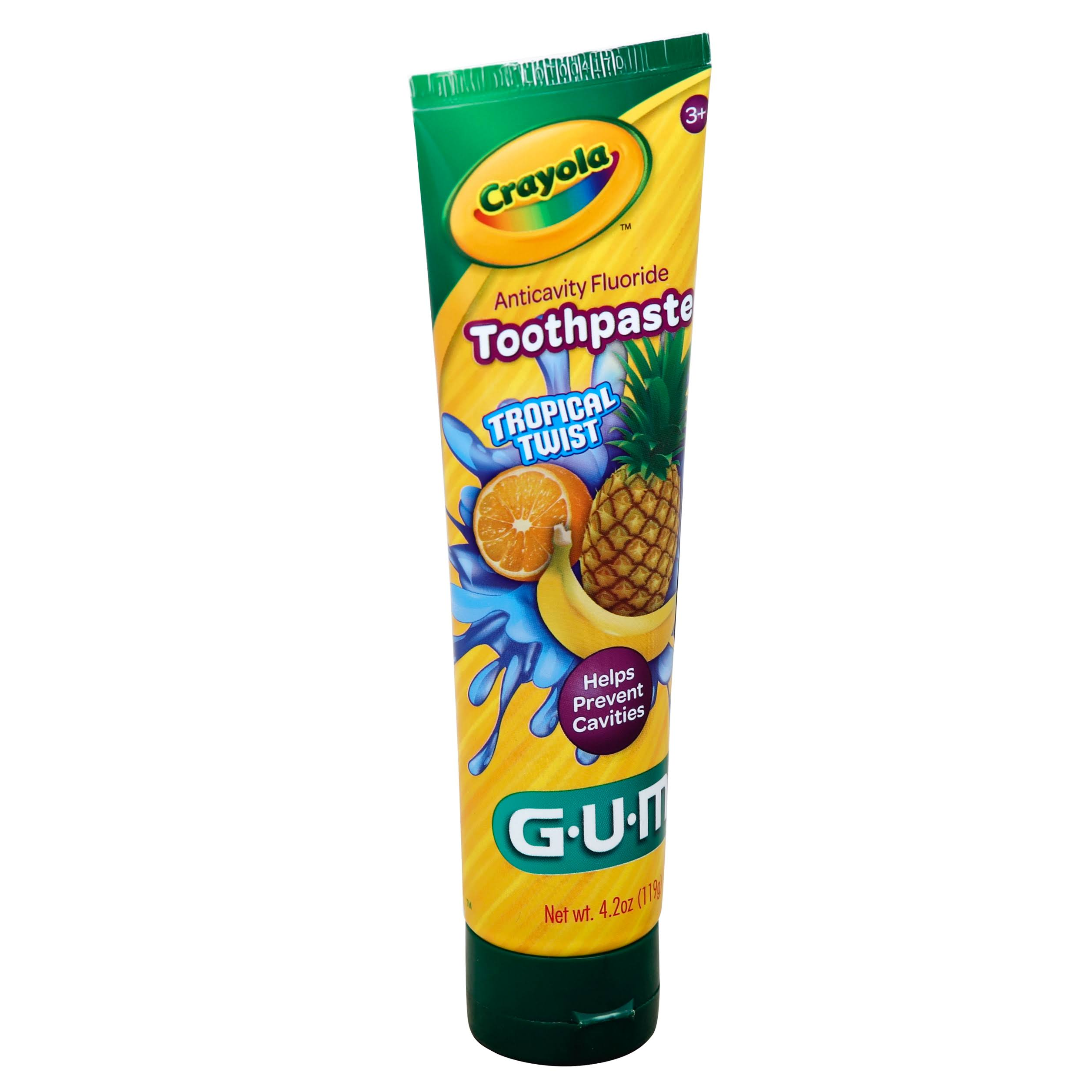 Sunstar G.U.M Crayola Squeeze-A-Color Anticavity Fluoride Toothpaste - Tropical Twist, 4.2oz