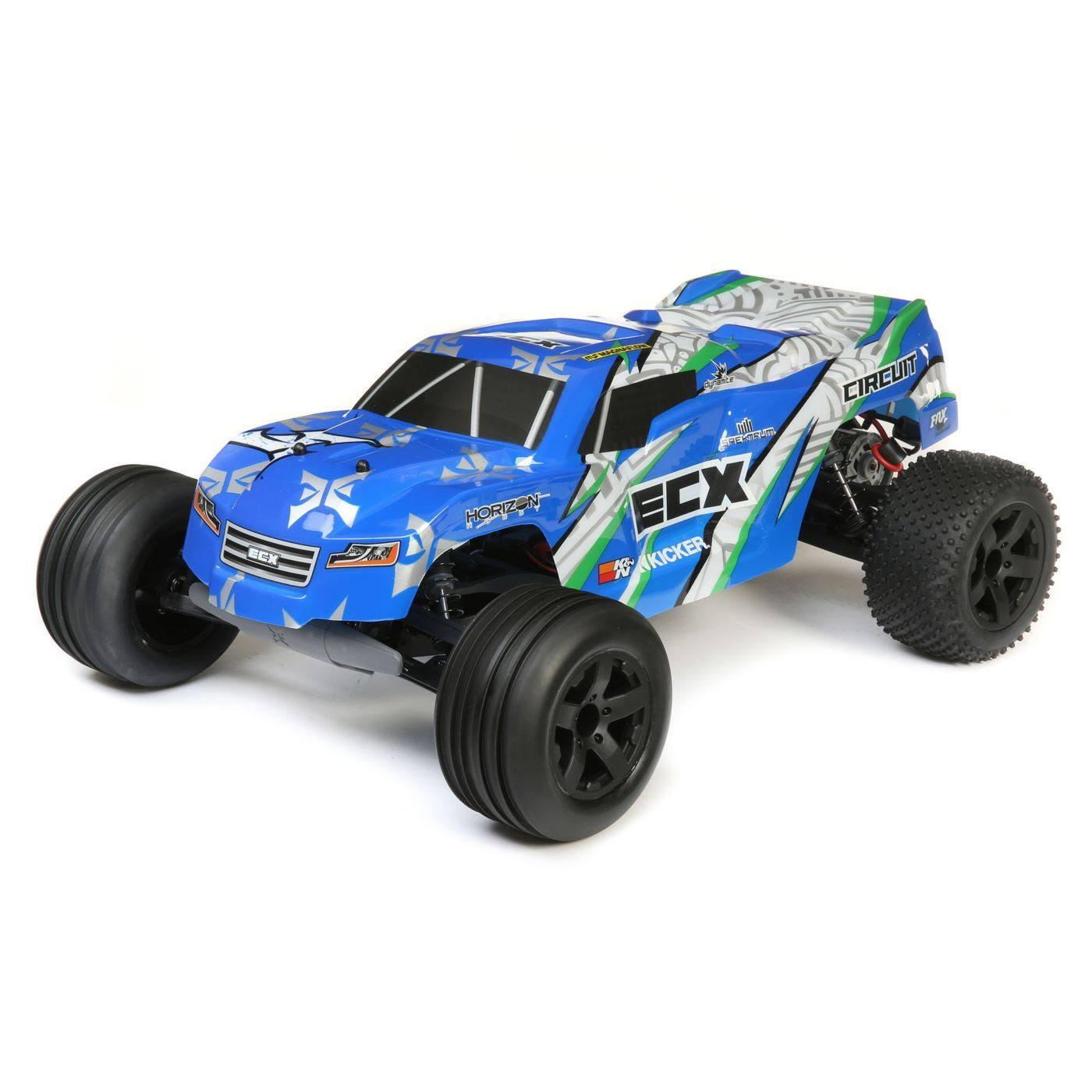 ECX Circuit 2WD Stadium Brushed Ready To Run Truck - Blue and White, Scale 1:10