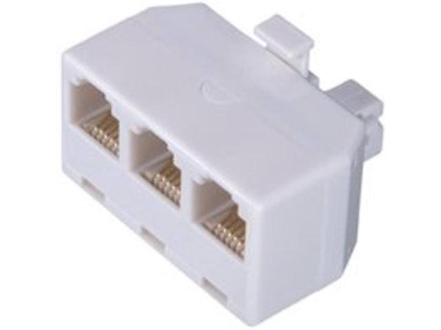 Zenith TS1001SPJ3W Telephone Outlet Adapter - 3 Jack, White