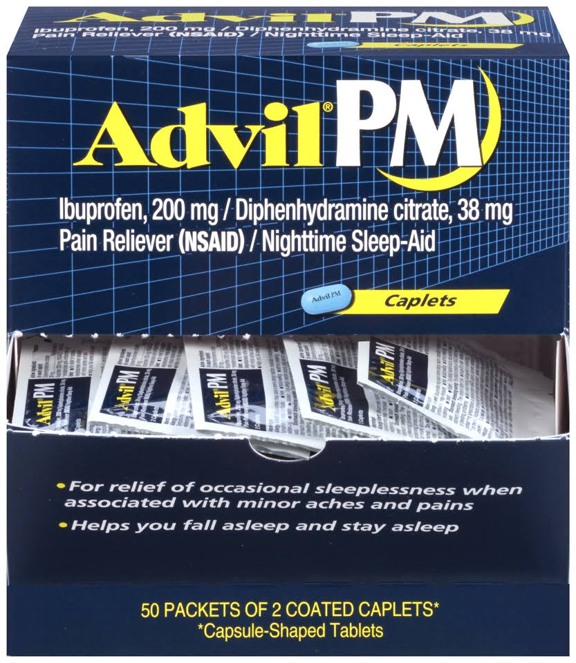 Advil PM Ibuprofen Caplets Pain Reliever - 200mg, 50ct, 2pk