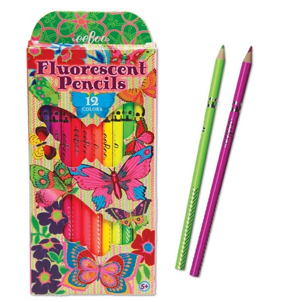Eeboo Butterfly Fluorescent Colored Pencils - Set of 12