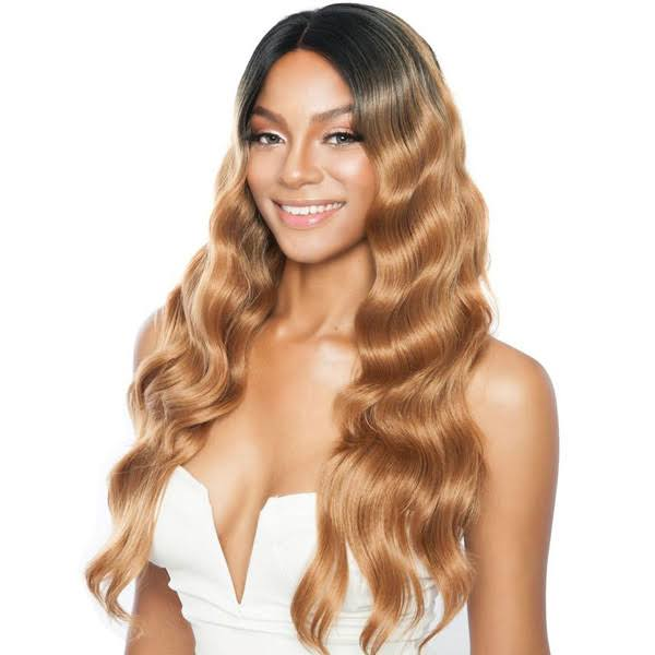 "Mane Concept Melanin Queen Human Hair StyleMix Lace Front Wig - MLE03 Ear to Ear Loose Wave 26"" (SR1B/27)"