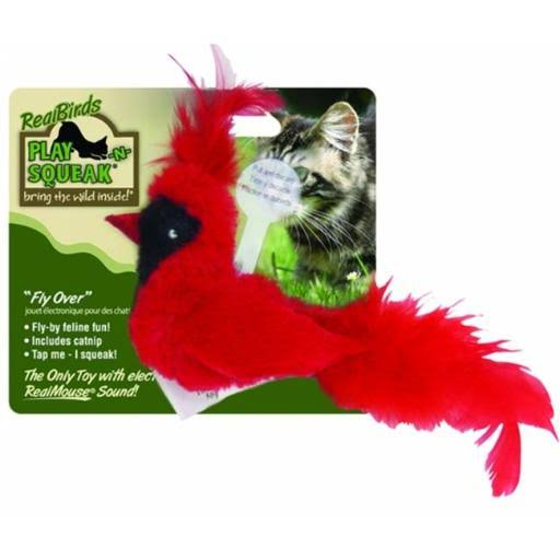 Our Pets Company Play-N-Squeak Real Birds Fly Over Interactive Cat Toy
