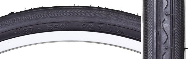Sunlite Tire 26x1-3/8 Black/Black Road K40