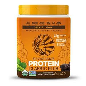 Sunwarrior Classic Plus Raw Organic Plant Based Protein - 375g, Chocolate