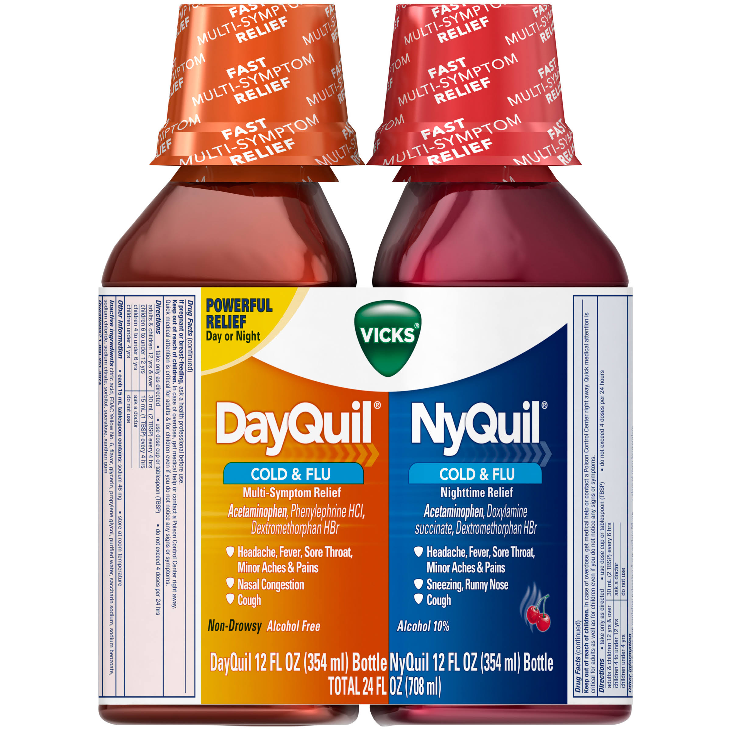Vicks DayQuil & NyQuil Cold & Flu Liquid Medicine Combo Pack - 12oz, 2pcs